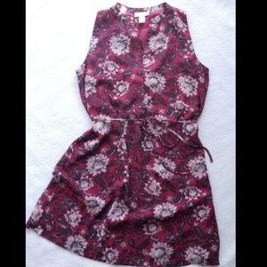《Loft》Sleeveless Magenta Floral Dress